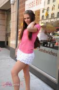Transsexual sweetie Ashley George posing in public