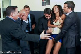 Sadie Santana is gangbanged by five business guys in order to close a business d