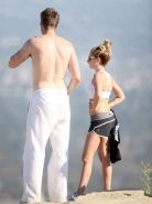 Ashley Tisdale in sports bra  shorts hiking the Runyon Canyon in LA