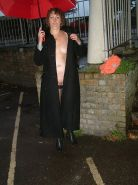 Mature English wife Lyndseys public nudity in rain and flashing outdoors