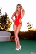 Samantha Saint strips off her red swimsuit