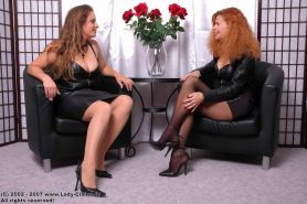 Two mature lesbians in stockings