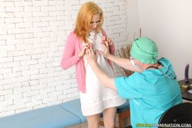 Horny male doctor examines every hole a redhead petite teenie