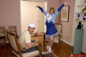 Two dicks testing cheerleader teen Anita Blue and drilling her fuck holes