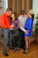 Fully clothed couples have groupsex