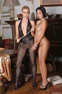 Sophie Moone blonde lezdom in bodystocking and sub