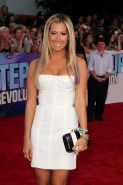 Ashley Tisdale wearing white strapless mini dress at Los Angeles premiere of Ste