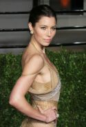 Jessica Biel shows off her curvy body wearing tight maxi dress at the Vanity Fai