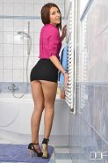 Alexis Brill small tits brunette strips in the bathroom and takes a shower