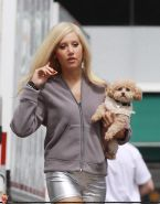 Ashley Tisdale showing cameltoe in tight silver shorts on the set