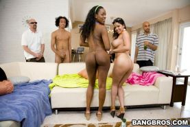 Round butt ebony whore hardcore group sex and toy action