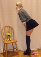 Tranny dressed as a schoolgirl shows her dick