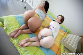Pornstars Angelina Castro and Angel Cakes flaunt their phat asses