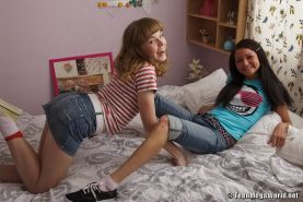 Teen chicks sharing lucky cock in ffm group action