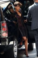 Halle Berry shows huge cleavage heading to The Late Show with David Letterman in