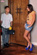 Rilynn Rae gets her leaking pussy plugged by the plumber's pipe