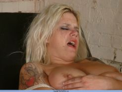 Crying busty blonde bdsm slave in extreme electro torments and bound bastinado