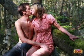 Natural teen fucked hard in a forest till cumshots