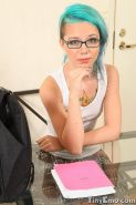 Tiny emo teen girl in glasses nude
