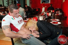 Sex is on the menu as this horny blonde shemale bangs her stud in a cafe #77925471