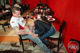 Sex is on the menu as this horny blonde shemale bangs her stud in a cafe #77925485