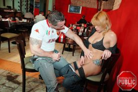 Sex is on the menu as this horny blonde shemale bangs her stud in a cafe #77925493