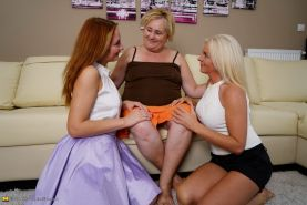 Three naughty old and young lesbians make out on the couch #73504285