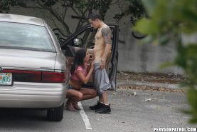 Couple fucking at parking lot while a voyeur watch it all