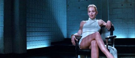 Sharon Stone showing her shaved pussy and upskirt