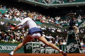 Maria Sharapova flashing her white panties on a day four of the 2015 French Open