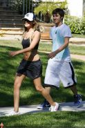Ashley Tisdale shows off her sexy body while jogging in belly shirt and shorts