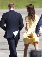 Kate Middleton showing her panties while wind blow her yellow dress