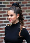Selena Gomez see-through to bra and leggy heading to Late Show with David Letter
