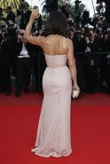 Salma Hayek busty wearing strapless maxi dress at the closing ceremony in Cannes