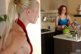 Red-haired lesbian chick tongue kisses a girl and puts to use a huge dildo