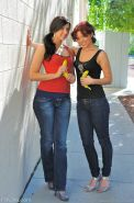 Real amateur lesbian teens exposed and teased outdoor