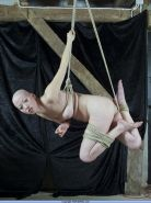 Suspension bondage and breast tied hanging of japanese fetish model Kumimonster