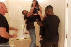 Rough hardcore interracial gangbang sex  babe gets fucked by group of kinky guys