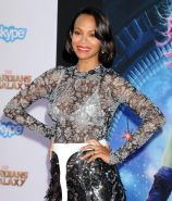Zoe Saldana see through to white bra at the Marvels Guardians Of The Galaxy prem