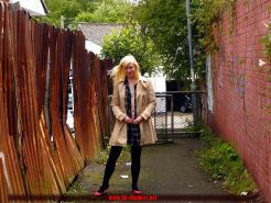 Flashing blonde british babe Satine Spark in public nudity