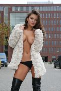 Sexy Czech Hottie Dana Harem posing Naked in a Fur Coat