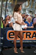 Eva Longoria leggy wearing shorts on the set of Extra at Universal in Hollywood