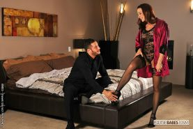 Chanel Preston in lace lingerie and black stockings having feet fetish sex in he