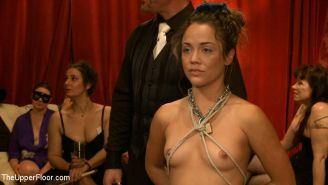 Kristina Rose naked and exposed at her first bdsm sex party