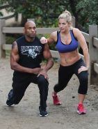 Gemma Atkinson wearing sport bra and tights while training in Hollywood Hills
