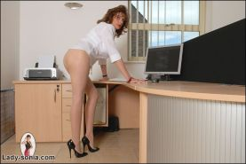 English pantyhose long legs brunette mature boss in her office