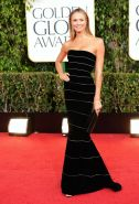 Stacy Keibler busty wearing a tight tube dress at 70th Annual Golden Globe Award