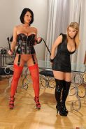 Lezdom LaTaya Roxx spanking blonde teen girl in high boots
