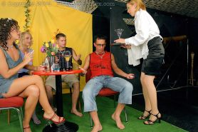 Two couples invite blonde waitress for some backstage groupsex