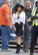 Salma Hayek showing huge cleavage in wide open shirt and mini skirt at How To Ma